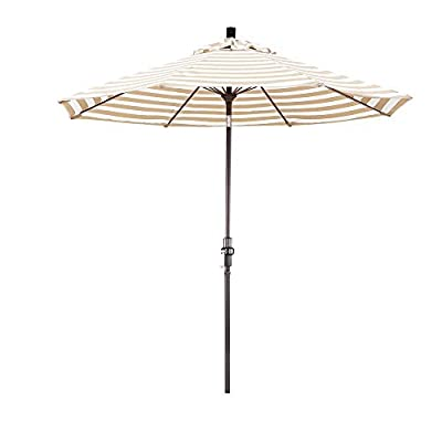"California Umbrella 9' Round Aluminum Pole Fiberglass Rib Market Umbrella, Crank Lift, Collar Tilt, Bronze Pole, Olefin Khaki/Beige Stripe - Overall dimensions (l x w x h): 108"" x 108"" x 102"" Advanced collar tilt system offering infinity tilt with deluxe crank lift system Frame is constructed of rust free aluminum with 8 heavy duty fiberglass rib - shades-parasols, patio-furniture, patio - 316ie6uzKQL. SS400  -"