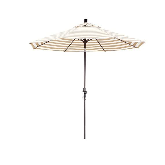 "California Umbrella 9' Round Aluminum Pole Fiberglass Rib Market Umbrella, Crank Lift, Collar Tilt, Bronze Pole, Olefin Khaki/Beige Stripe - Overall dimensions (l x w x h): 108"" x 108"" x 102"" Advanced collar tilt system offering infinity tilt with deluxe crank lift system Frame is constructed of rust free aluminum with 8 heavy duty fiberglass rib - shades-parasols, patio-furniture, patio - 316ie6uzKQL. SS570  -"