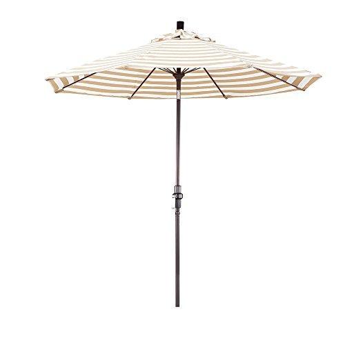 316ie6uzKQL - California Umbrella 9' Round Aluminum Pole Fiberglass Rib Market Umbrella, Crank Lift, Collar Tilt, Bronze Pole, Olefin Khaki/Beige Stripe