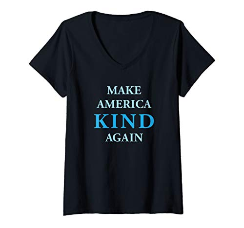 Womens Anti-Trump Make America Kind Again V-Neck T-Shirt America Womens V-neck T-shirt