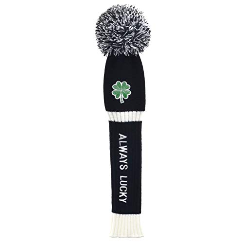 Lolji Decorations St. Patricks Day Gift Original Green Clover Embroidered Always Lucky Knitted Golf headcovers for 460cc Driver Wood POM POM Head Club Covers for Taylormade Callaway Titleist Ping
