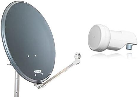 Opticum Stahl QA60 - Antena parabólica con LNB, 60 cm Antracita
