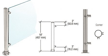 """Brushed Stainless 20"""" High 1"""" Round PP56 Slimline Series Straight Front Counter/Partition Corner Post"""