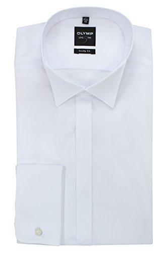 Olymp - Camicia da smoking da uomo Level 5, colletto classico, gemelli sui polsini, bianco 30776500 bianco 40