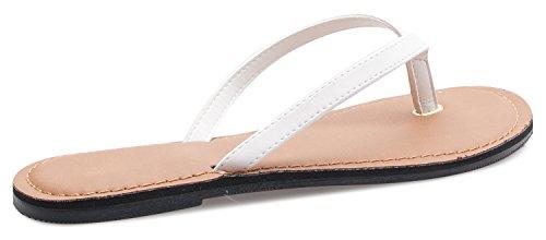 Glitter Crystal OLIVIA Thong Flip Sandal White Strap Pu K Women's Flop Bling wqrFERIF
