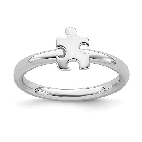 Stackable Expressions 2.5mm Sterling Silver Autism Awareness Puzzle Piece Ring - Size -