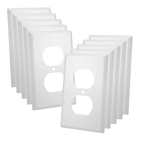 (10 Pack - Single-Gang Duplex Receptacle Plastic Wall Plate - UL Listed, White)