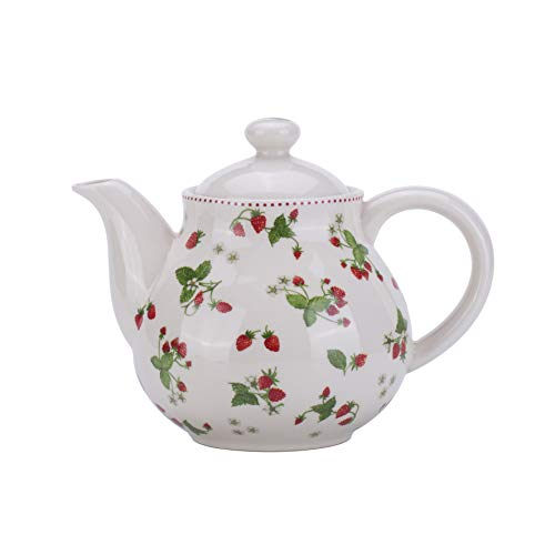Lonovel Porcelain Teapots,Lovely Strawberry Design Tea Pot for Tea or Coffee,Home and Kitchen Dining Serveware Pot,Beige ()