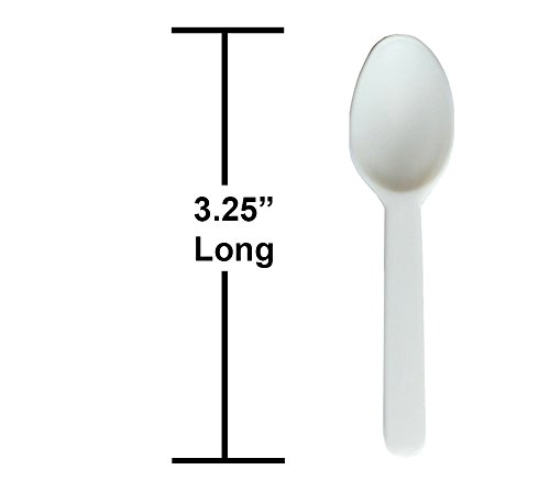 "Daxwell Light Weight Polypropylene 3.25"" Taster Spoon, White, Recyclable (Bag of 500)"
