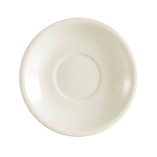 CAC China REC-2 Rolled Edge 6-Inch Stoneware Saucer, American White, Box of 36