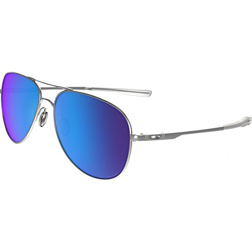 Oakley Elmont M and L Polarized Iridium Aviator Sunglasses, Satin Chrome, 58 - Oakley Elmont