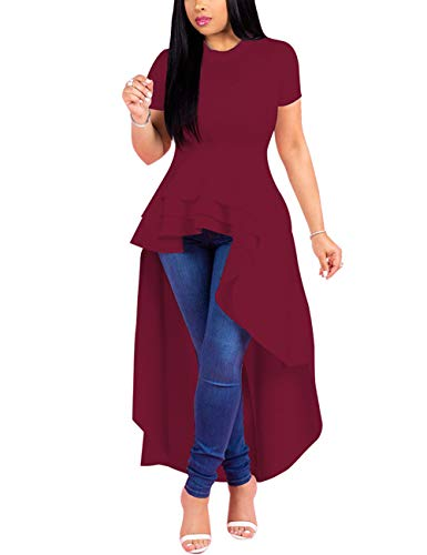 SEBOWEL Women Ruffle High Low Asymmetrical Short Sleeve Peplum Tops Blouse Shirt Dress Wine Red S