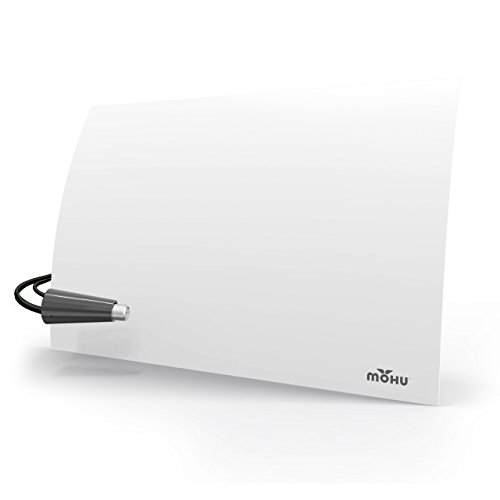 Mohu Flow + 60-Mile Range Designer Indoor Amplified HDTV Antenna (2019 Newest Version) - GET Free TV - Omnidirectional, Includes Long Coax, Replace Cable TV