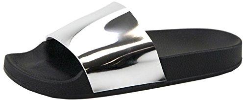ANNA S-2017-1 Women Hologram Shiny Slides Flip Flop Sandal Metallic Silver Silver r70VM1B