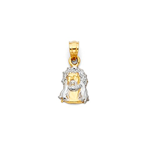 Mia Diamonds 14k Two-Tone Gold Jesus Christ Head Small Pendant (15mm x ()