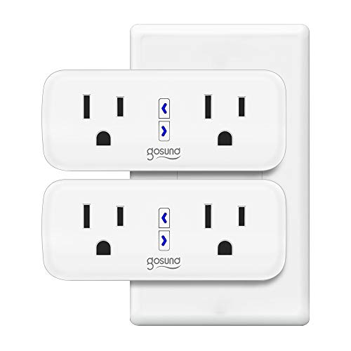 Smart Plug Gosund WiFi Dual Extender Outlet Compatible with Alexa Google Assistant, Mini 2 in 1 Smart Socket with Remote Control Individually, No Hub Required, FCC and ETL Listed 2-pack