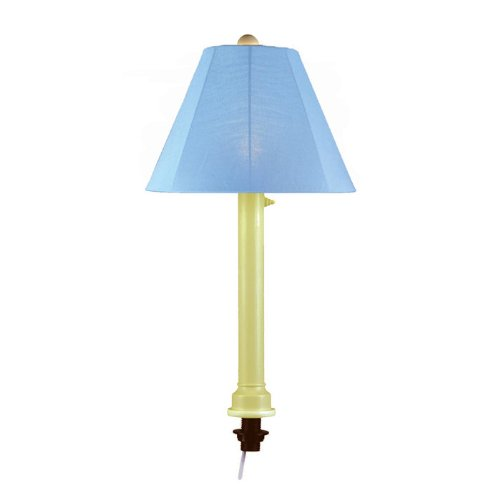 Patio Living Concepts Catalina 28 in. Bisque Umbrella Outdoor Table Lamp with Sky Blue Shade (Lamp Outdoor Table Bisque)