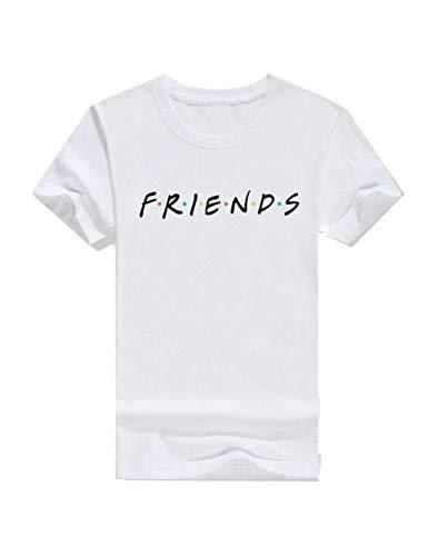 pairris Mujeres Hombres Casual Camiseta de Manga Corta con Letras ...