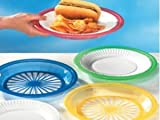 "1 Dozen of Reusable Plastic Holders for 9"" Paper Plates Bright Colors, By Tzipco"