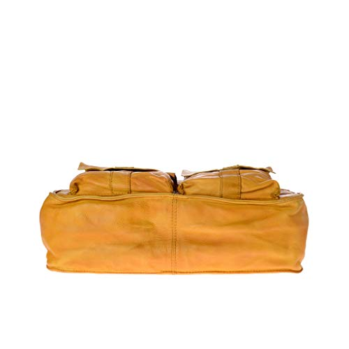Avec Bandoulière À Vieilli En Dudu Anses Produit Yellow Saffron Teinté Cuir 2 Sac Fini 84dqw8