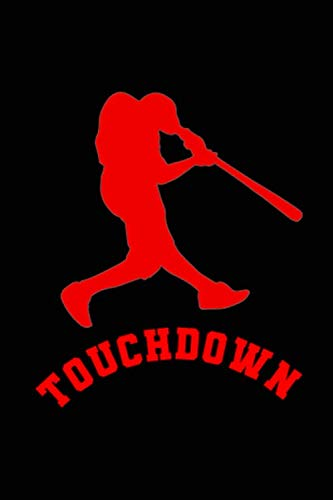 (Touchdown!: Blank Lined Notebook ( Baseball ) Black)