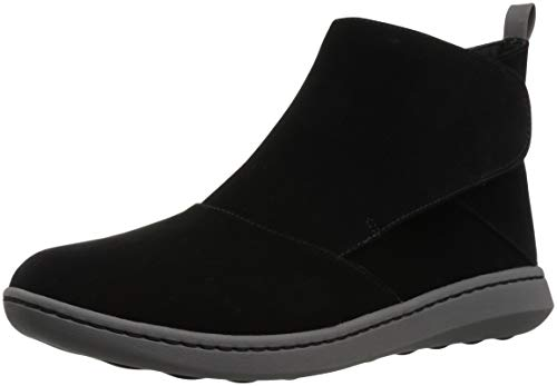 CLARKS Women's Step Move Up Ankle Boot, Black Synthetic, 075 M US