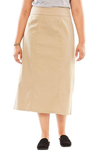 20w Skirt - Women's Plus Size Comfort Waist A-Line Denim Skirt Natural Khaki,20 W
