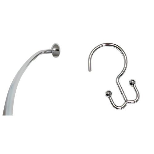 Bundle – 2 items: Zenna Home E35603SS01, NeverRust Aluminum Curved Shower Curtain Rod, 44 to 72-Inch, Chrome and Zenna HomeSS88ALSS, NeverRust Aluminum Double Shower Hooks, Chrome