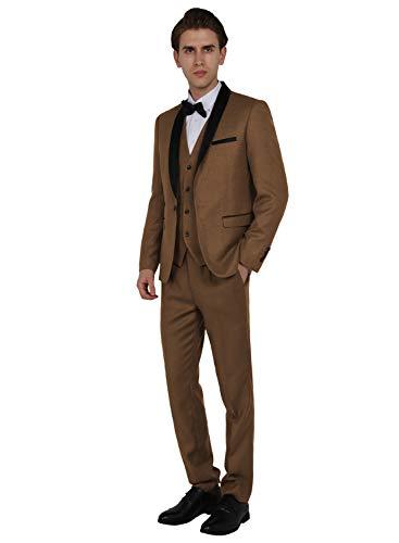 WEEN CHARM Men's Shawl Lapel 3-Pieces Suit Slim Fit One Button Dress Suit Blazer Jacket Pants Tux Vest Khaki