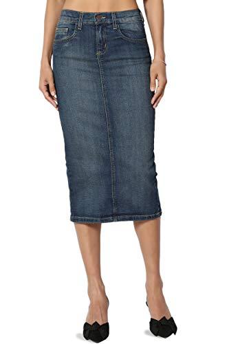 (TheMogan Women's Mid Rise Back Slit Pencil Long Midi Denim Skirt Medium 0)