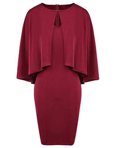 - CHICIRIS Women's Summer Sexy Sleeveless Ruffle Batwing Cape Bodycon Midi Cocktail Dress Wine Red Size 2XL