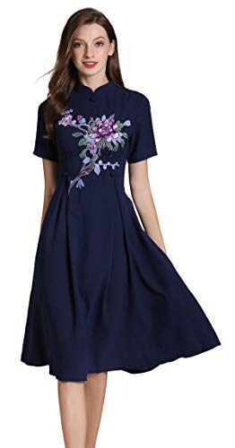 Women's Short Sleeve Mexican Embroidered Floral Pleated Midi A-line Cocktail Dress (S, Blue 2)