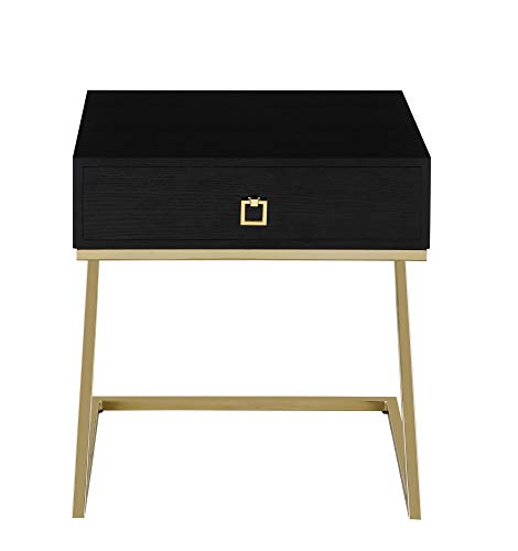 Iconic Home FST2969-AN Nightstand Side Table With Self Closing Drawer Black