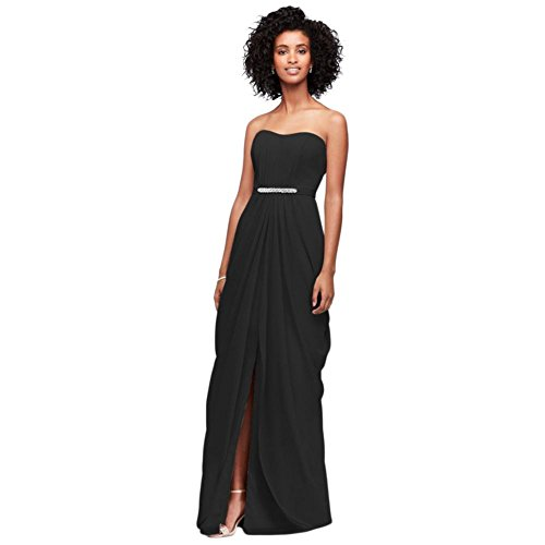 David's Bridal Strapless Chiffon Bridesmaid Dress with Swag Skirt Style F19650, Black, 16 (Bridal Chiffon Skirt)