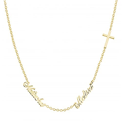 - Qamra 18K Gold Plated Double Name Necklace in Sterling Silver Personalized with Cross Custom Made