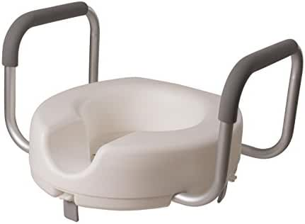 DMI Raised Locking Toilet Seat with Armrests for Round Toilets, White