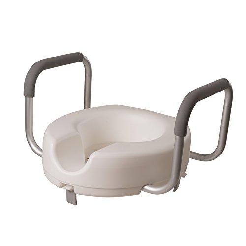 DMI Raised Locking Toilet Seat with Armrests for Round Toilets, White