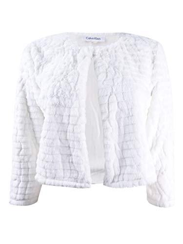 Calvin Klein Women's Petite Faux-Fur Cardigan (PM, Neutral)