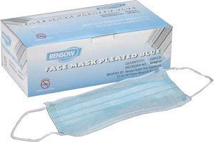 Rensow Face Masks Pleated with Ear Loop, 10 Box of 50/500 Ca