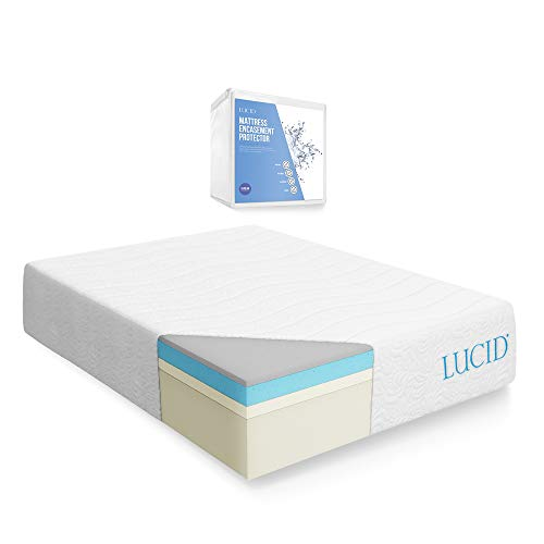 (LUCID 16 Inch Plush Gel Memory Foam and Latex Mattress - Four-Layer - Infused with Bamboo Charcoal - Natural Latex and CertiPUR-US Certified Foam - 10-Year Warranty - Queen  with LUCID Encasement Mattress Protector - Queen)