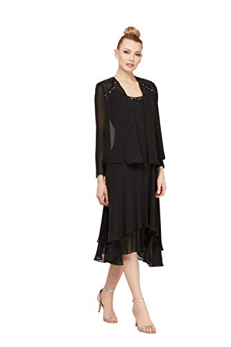 S.L. Fashions Women's Embellished Chiffon Tiered Jacket Dress, Black, 18