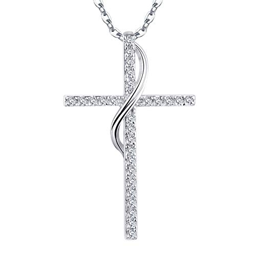 YL 18K White Gold Diamond Cross Pendant Necklace for Women(H-I Color, SI Clarity)