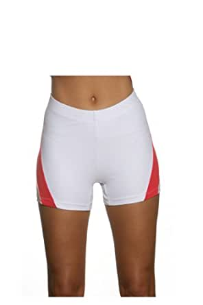 Show No Love Women's Serena Short for Tennis and Yoga (white&red size s)