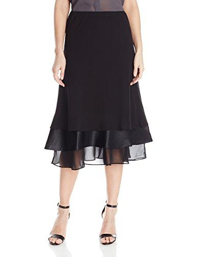 Tier Skirt (Alex Evenings Women's T-Length Chiffon Triple Tier Skirt, Black, M)