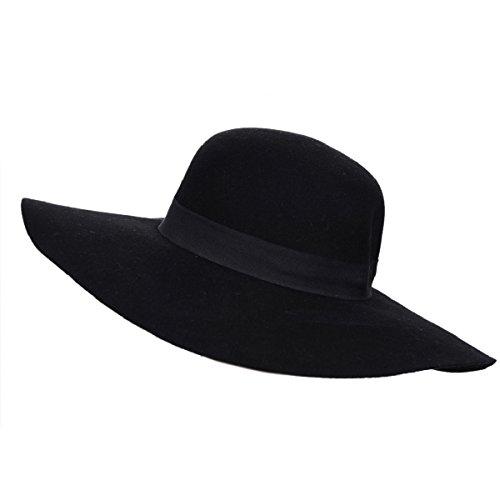 Wool Floppy Hat Felt Fedora with Wide Brim Women
