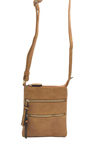 FairyBridal Triple Zipper Mutil-Pocket Leather Messenger Bag for Women,Crossbody Bag 5 Colors Satchel Purse (khaki(pu leather)) by FairyBridal (Image #4)