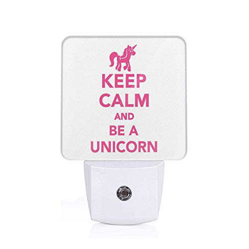 Colorful Plug in Night,Keep Calm and Be A Unicorn Text with Magical Mythological Fairytale Pony Animal,Auto Sensor LED Dusk to Dawn Night Light Plug in Indoor for Childs Adults