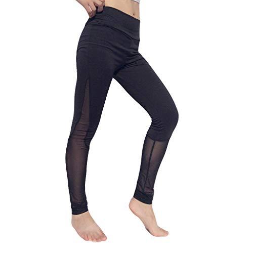 charmsamx Women Sports Mesh Trouser Yoga Capris Leggings High Waist Tummy Control Workout Running 4 Way Stretch Pants Breathable Mesh Patchwork Lifting ()