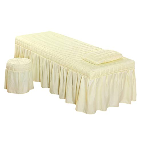 - B Blesiya Solid Color Massage Table Skirt Pillowcase Stool Cover Beauty Facial Bed Bedding Linen Set - Beige-L