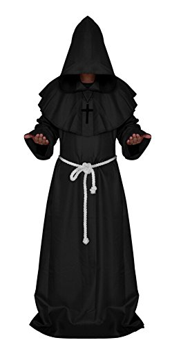 (Medieval Monk Robe Cosplay Halloween Hooded Cape Costume Cloak Black)